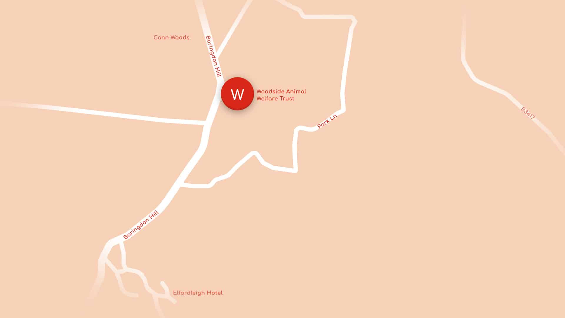 Map showing main Woodside location